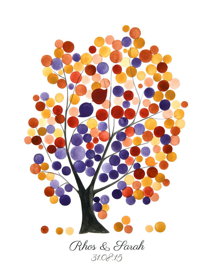 Wedding Alternative Guest Book Tree with Love Birds - 150 Guest Signatures - RED OAK TREE art Poster