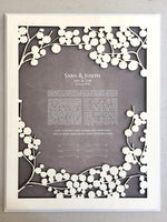 Load image into Gallery viewer, Love is patient Woodcut Ketubah with Wood engraved Guestbook by-onceuponapaper