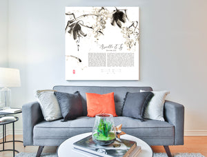 Japanese Ink Painting Ketubah > Botanical Sumi-e Grapevine