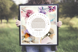 Four Season Floral Ketubah Print - Jewish weddings - Custom, modern Ketubah, flowers, four seasons