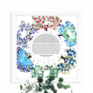 Earth's Nature Ketubah print - Jewish weddings - Custom Ketubah, Contemporary Ketubah, David's star, hexagram