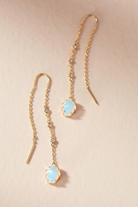 Delicate Drop Opal Stone Earrings