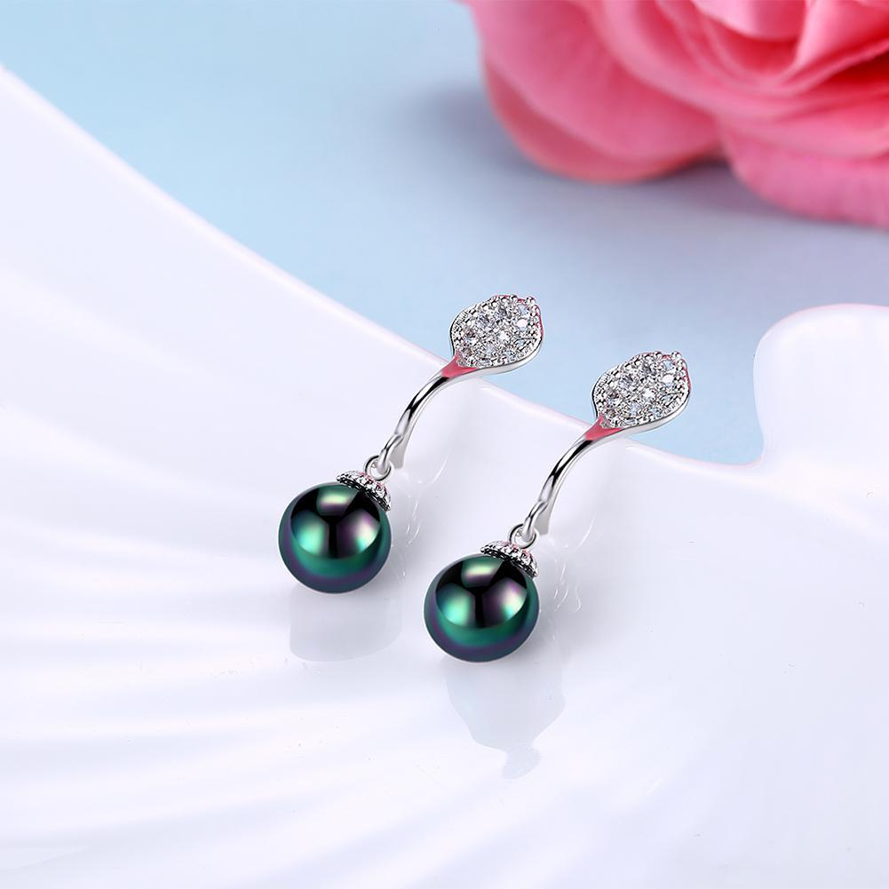 Swarovski Crystal Akoya Pearl Drop Earrings Set in 18K White Gold