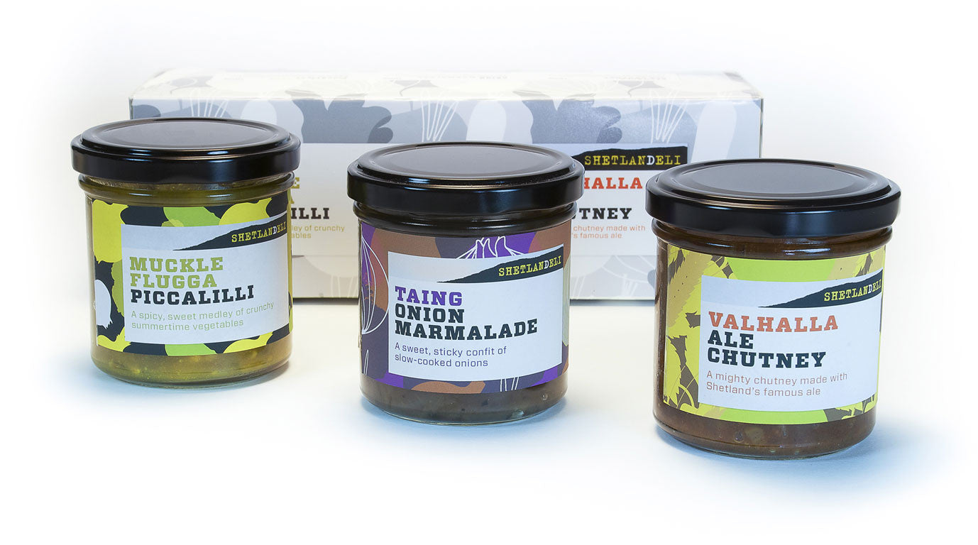 Shetlandeli's gift pack contains three jars of tasty chutney