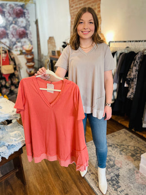 Vervet Super High Rise Grey Paperbag Waist Mom Shorts