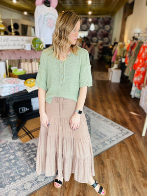 Button Down Short Sleeve Top