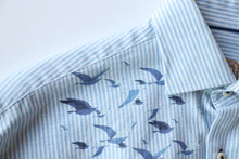 Load image into Gallery viewer, Blue and White Stripe Linen with Bird Print
