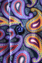 Load image into Gallery viewer, Black with Orange, Yellow, Purple and Red Paisley