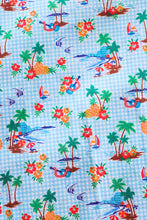 Load image into Gallery viewer, Aqua and White Check with Orange Hawaiian Print