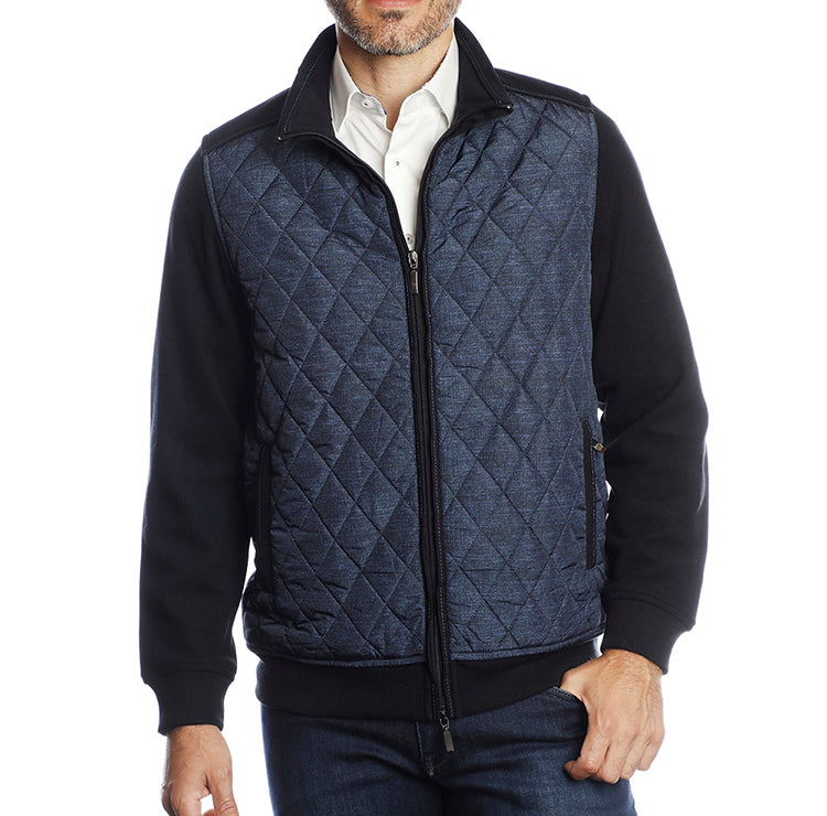 Navy with Light Blue Diamond Quilted Front