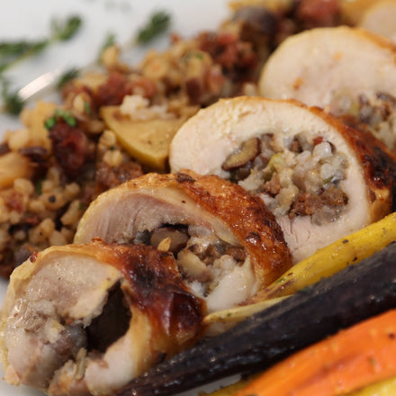 Roasted Capons with Wild Rice and Chestnut Stuffing