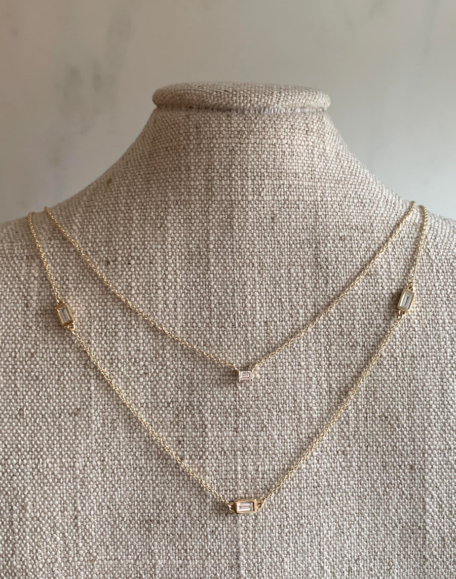Diamond Necklace with Three Baguettes