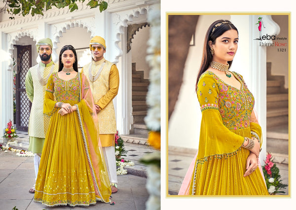 Yellow Color Multi Color Thread Work Suit
