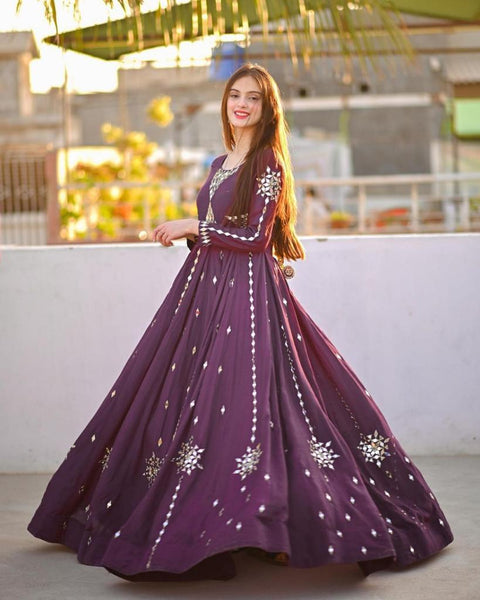 Wine Color Mirror Work Gown Collection