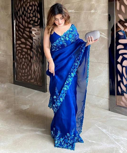 Embroidered Royal Blue Saree Collection of 2021