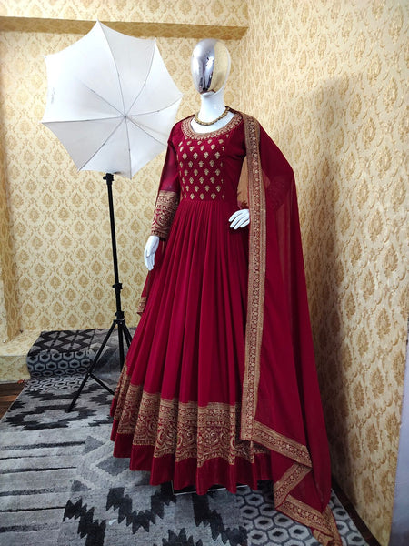 Embroidered Maroon Georgette Gown For Women