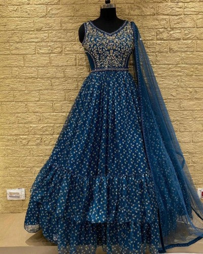 Blue Georgette Gown