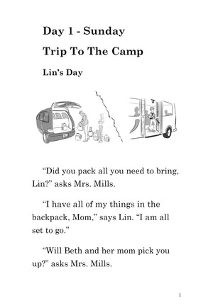 Six Days at Camp with Lin and Jill: Paperback PLUS Comprehension Workbook