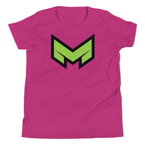 "Now your kid can feel like a super hero with our ""M"" logo youth short sleeve t-shirt"