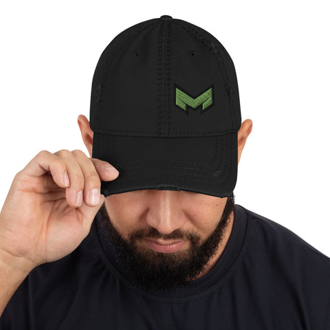 M logo Distressed Dad Hat