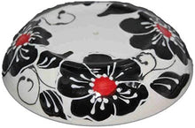 Load image into Gallery viewer, Ceramic black/red flower design Kitchen roll holder (4)