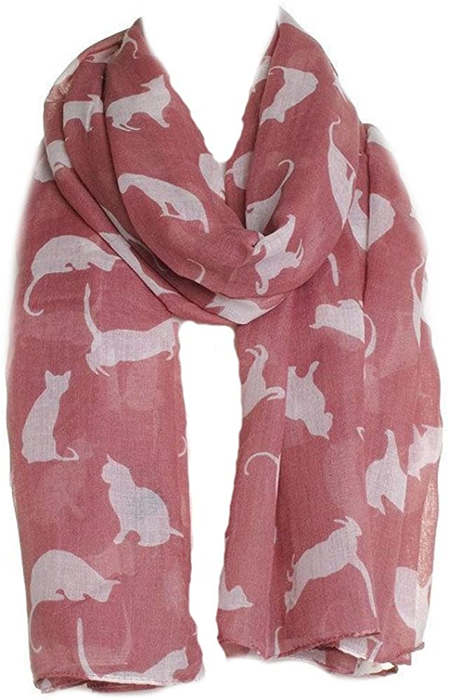 Pink with White Cats Scarf, Beautiful Design, Fantastic for The Animal Lover in us All