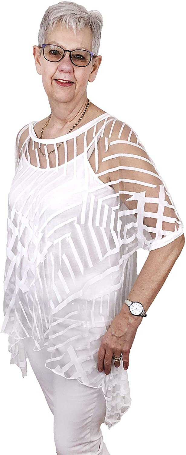 Pamper Yourself Now ltd White Longline Sheer t Shirt with Lines and cami Made in Italy (AA79)