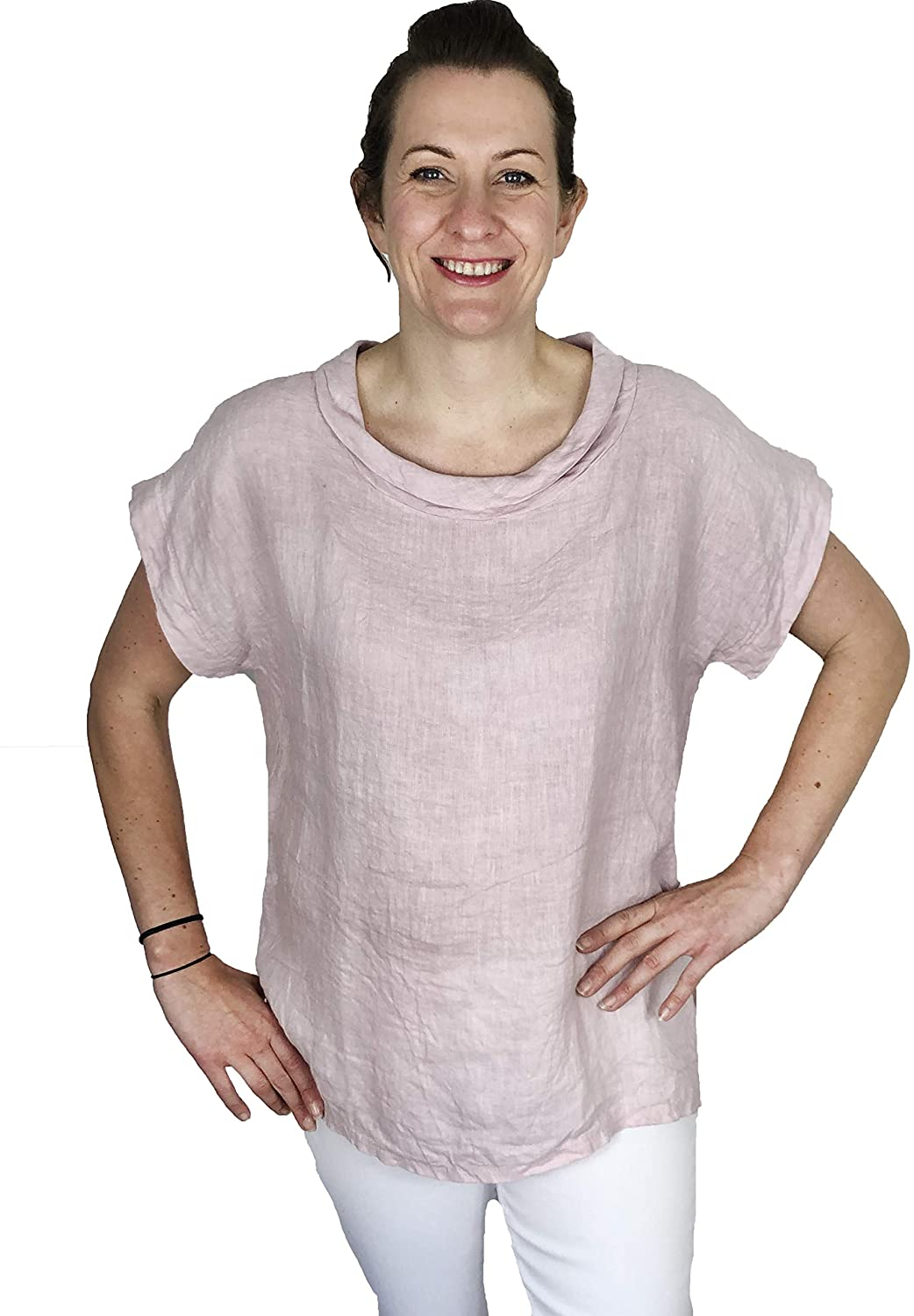 Pamper Yourself Now ltd Baby Pink 100% Linen Cowl Neck Tunic Made in Italy (AA85)