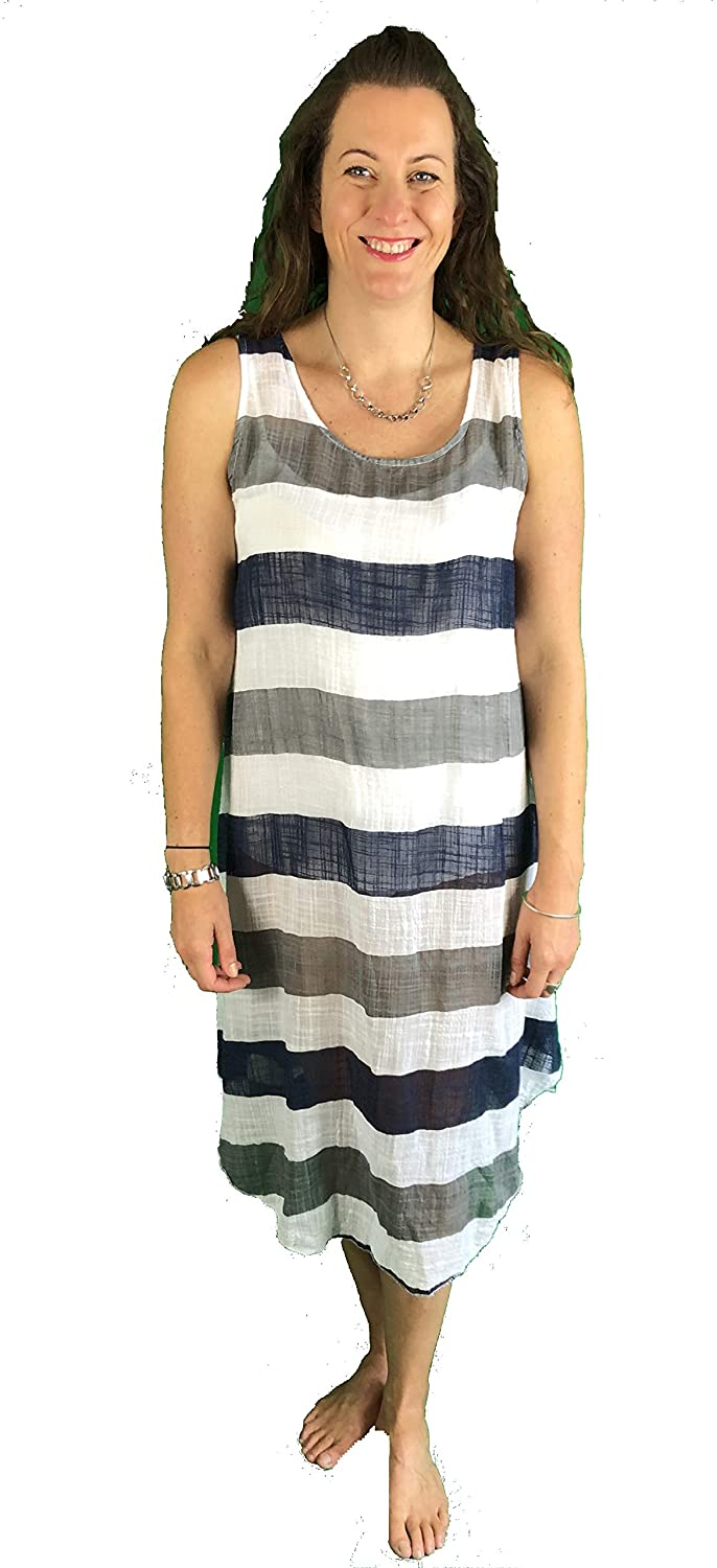 Pamper Yourself Now ltd White with Blue/Grey Stripes Dress 100% Cotton. One Size Recommended Fits Size 12-20 Made in Italy (AA72)