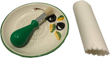 Load image into Gallery viewer, Light Green Olive Design (2) Garlic and Ginger Grater Set with Brush and Peeler. A Must for Every Foodie who Loves to Cook.