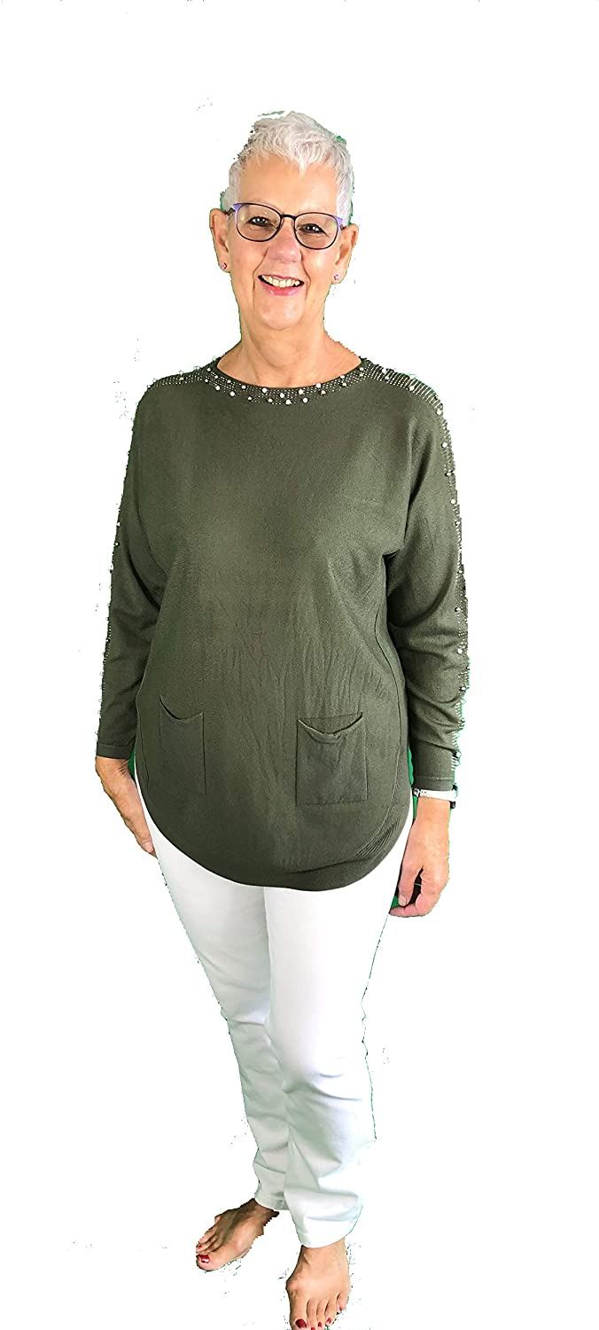 Pamper Yourself Now ltd Green Diamante and Pearl arm Detail with Pocket Soft Jumper. Made in Italy (AA39)