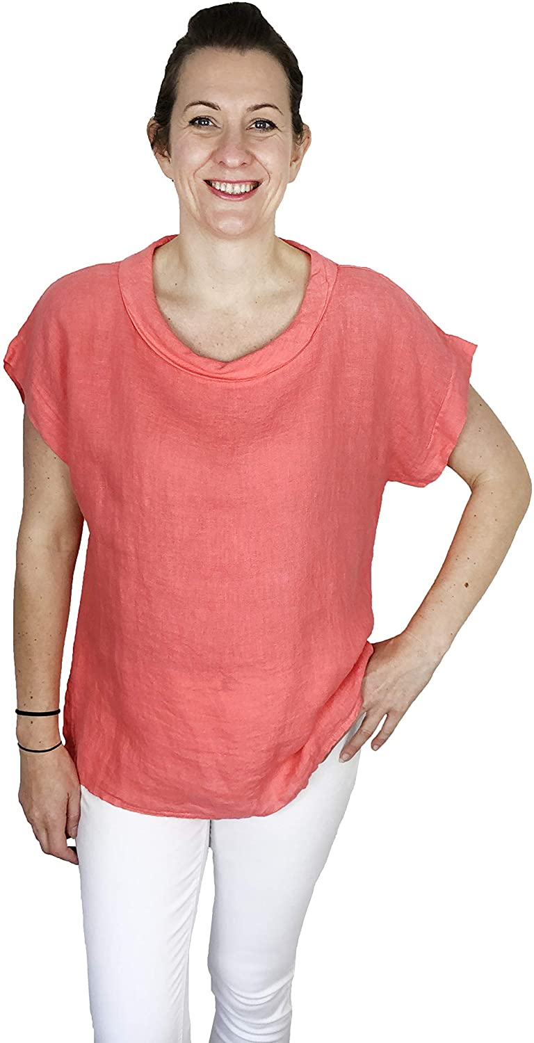 Pamper Yourself Now ltd Coral 100% Linen Cowl Neck Tunic Made in Italy (AA85)