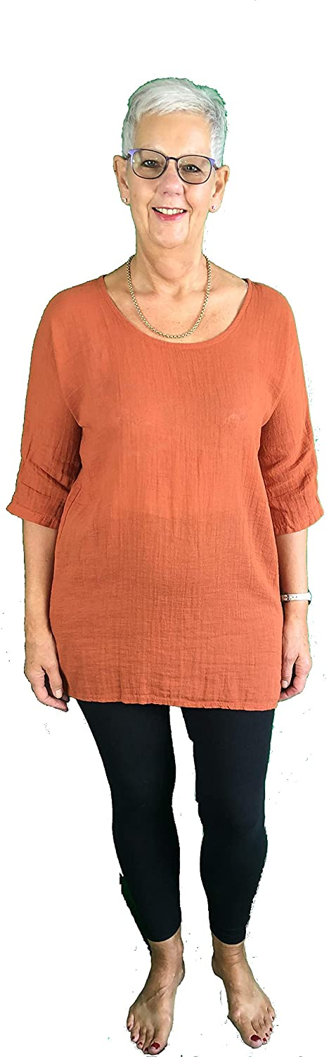 Pamper Yourself Now ltd Plain Long Rust T Shirt T Shirt 70% Linen + 30% Cotton. One Size Recommended Fits Size 10-16 Made in Italy (AA68)