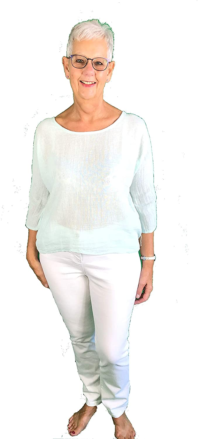 Pamper Yourself Now ltd Plain Mint Short T Shirt 70% Linen + 30% Cotton. One Size Recommended Fits Size 10-16 Made in Italy (AA63)