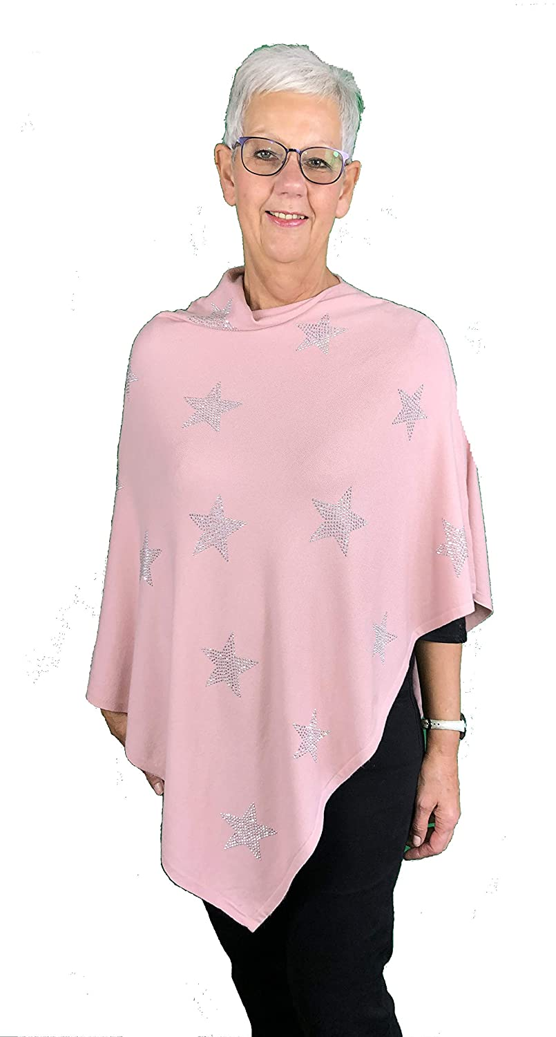 Pamper Yourself Now deep Pink with Silver Glitter Star Straight Neckline Poncho