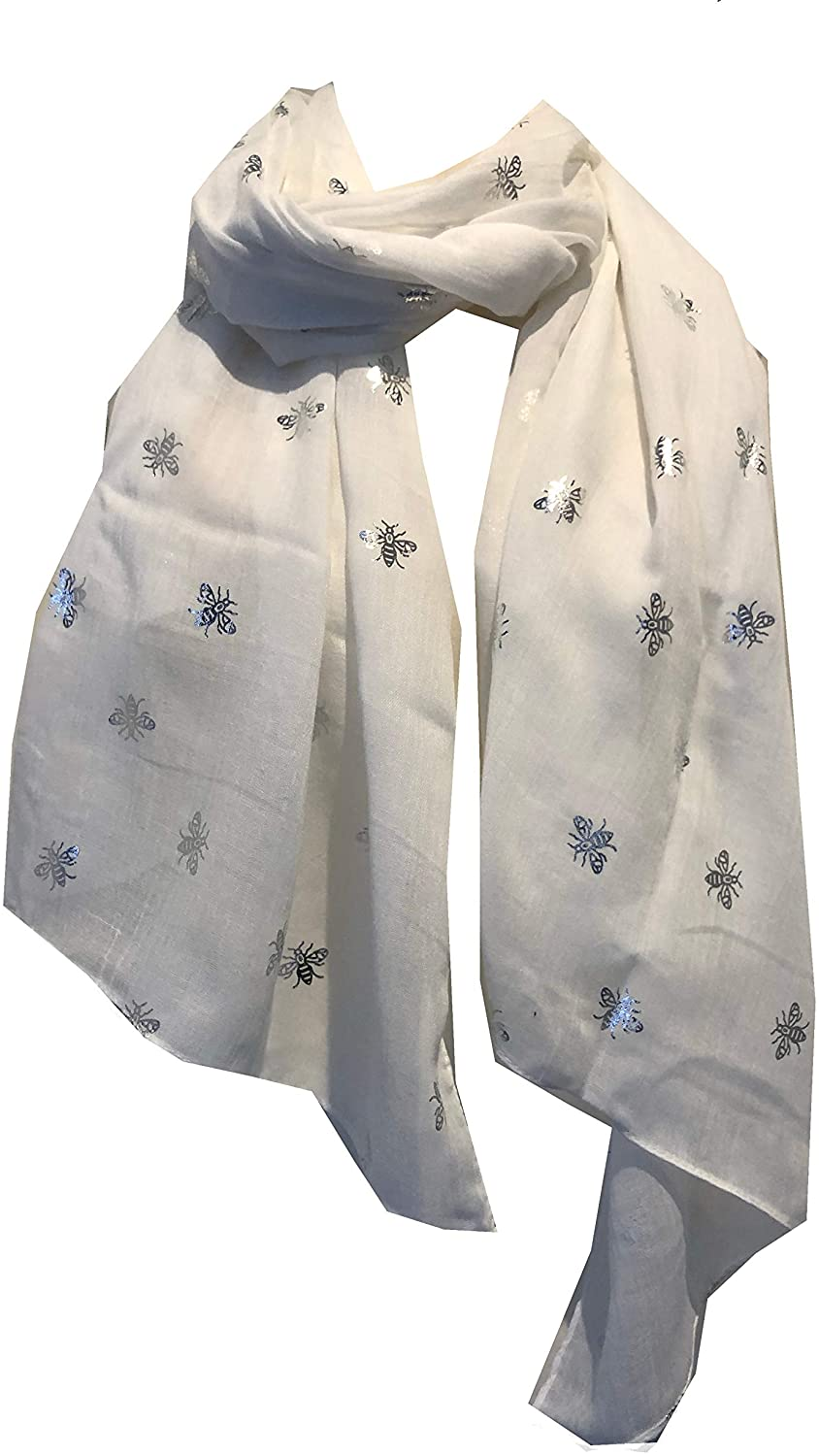 Pamper Yourself Now White with Silver Bumble Bees Long Scarf. Great Present/Gift for bee Lovers.