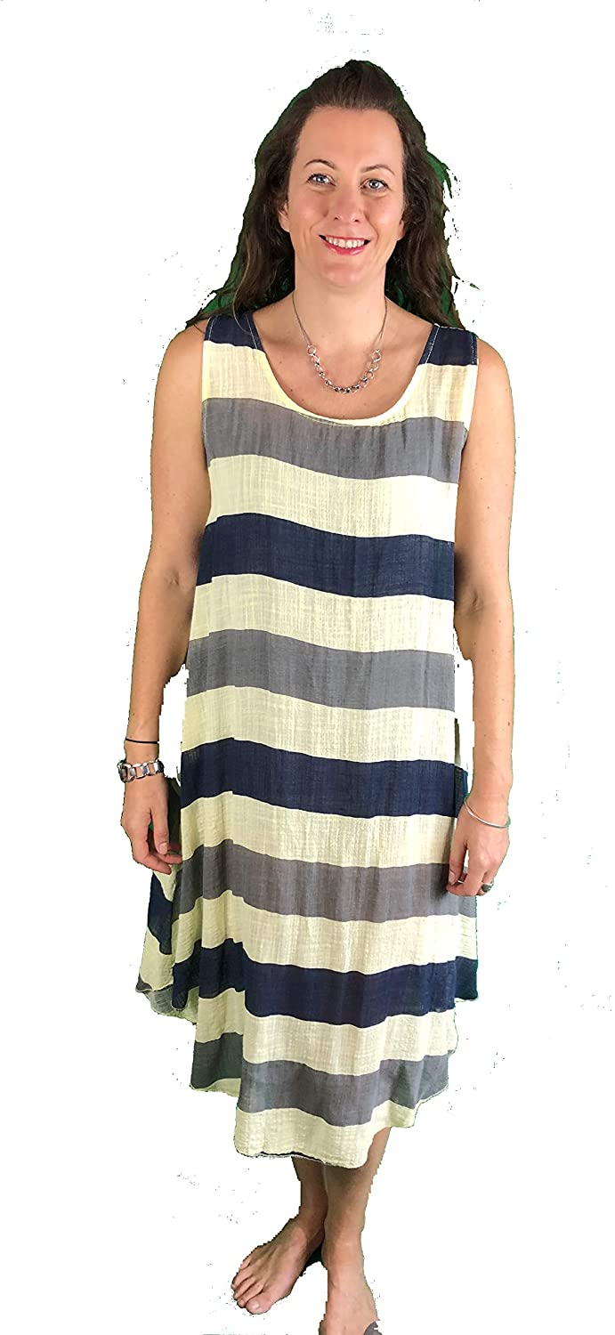 Pamper Yourself Now ltd Yellow with Blue/Grey Stripes Dress 100% Cotton. One Size Recommended Fits Size 12-20 Made in Italy (AA72)
