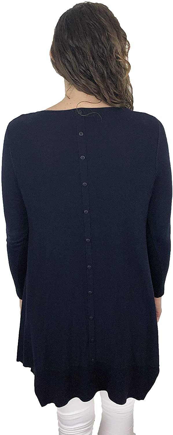 Pamper Yourself Now ltd Navy Blue Long Jumper with Button Detail Down The Back Made in Italy (AA84)