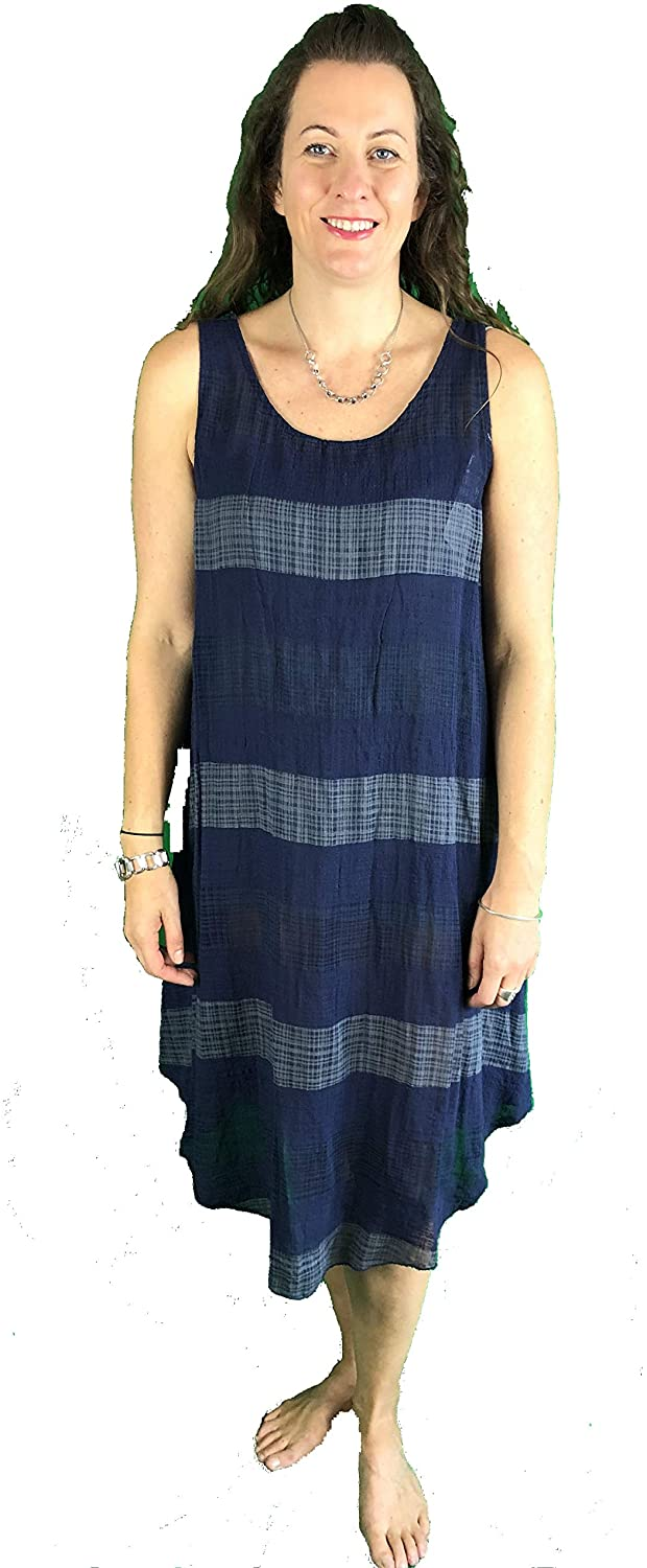Pamper Yourself Now ltd Navy with Grey Stripes Dress 100% Cotton. One Size Recommended Fits Size 12-20 Made in Italy (AA72)