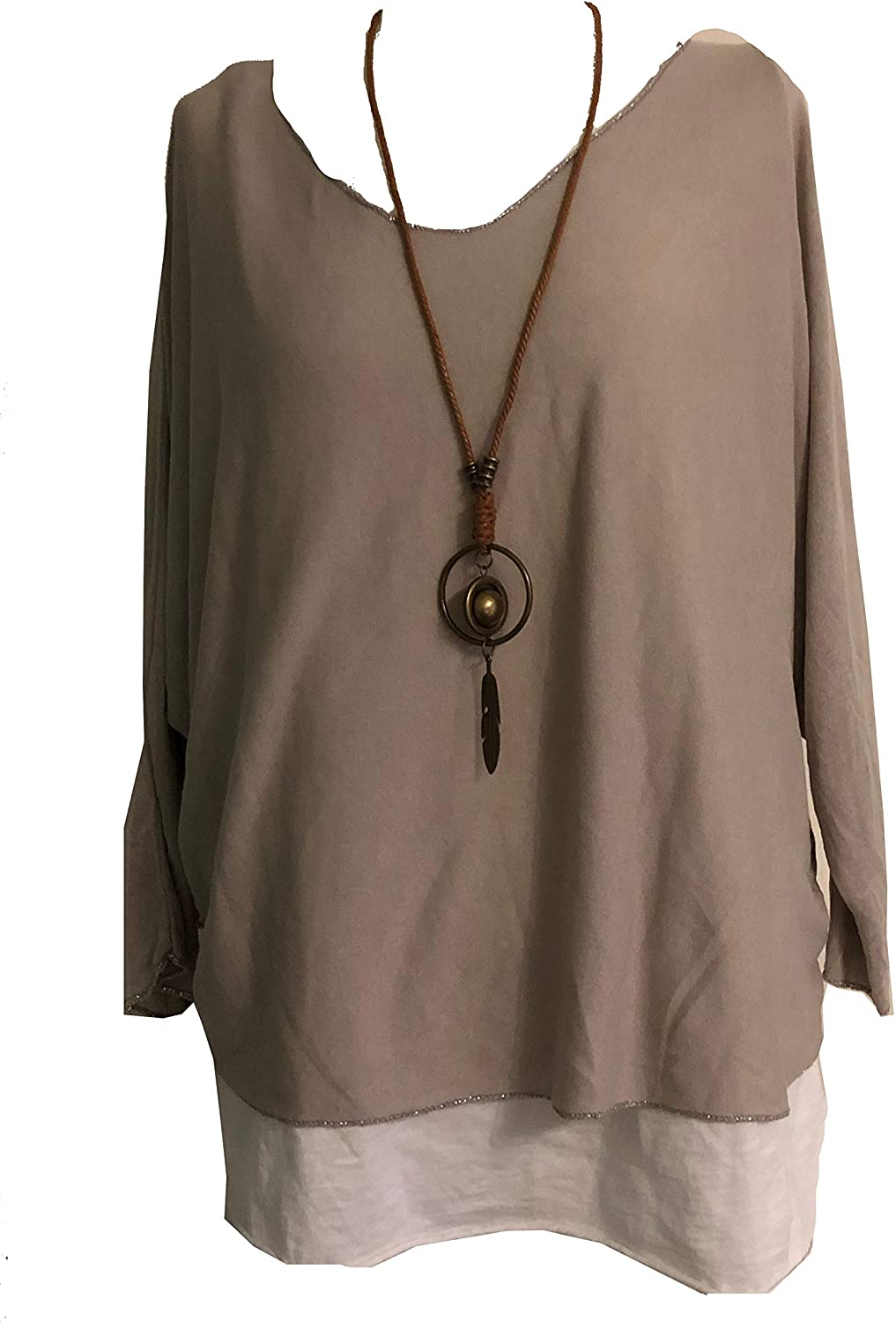Ladies 2 Piece Layer Plain Top with Necklace with 3/4 Sleeves (A91) - Made in Italy (Beige)