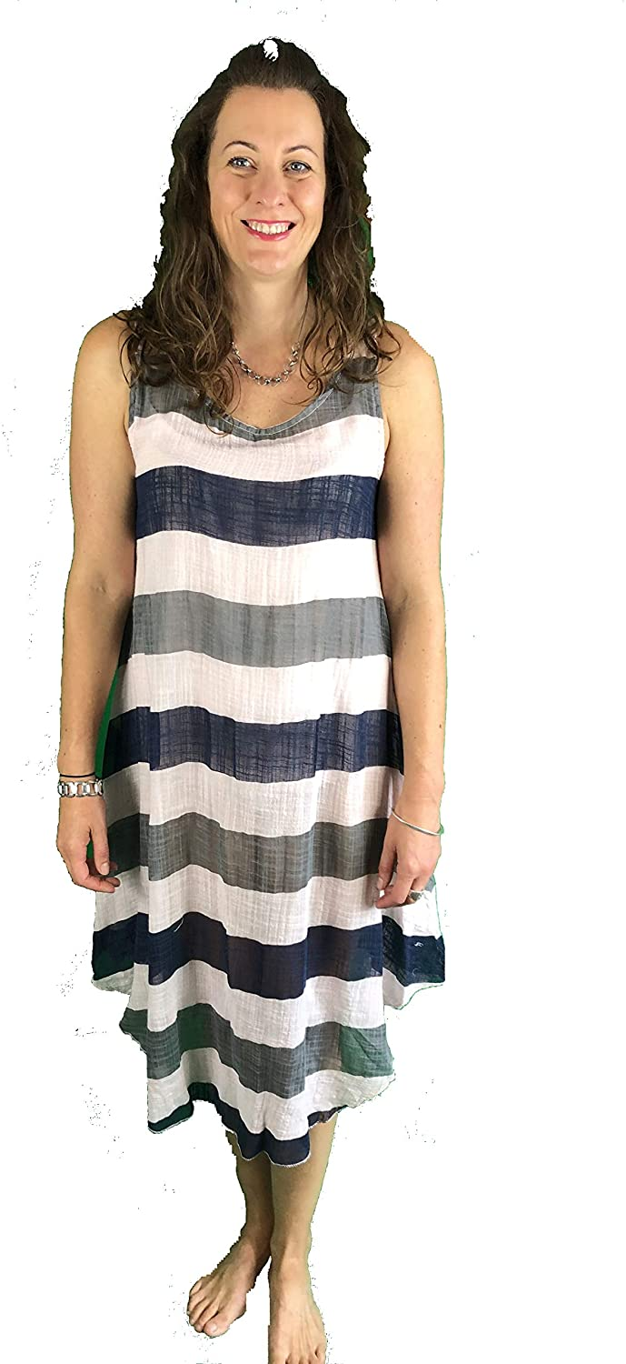 Pamper Yourself Now ltd Baby Pink with Blue/Grey Stripes Dress 100% Cotton. One Size Recommended Fits Size 12-20 Made in Italy (AA72)