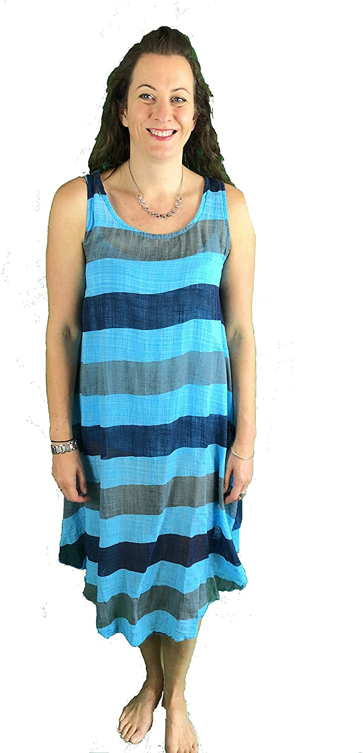 Pamper Yourself Now ltd Turquoise with Blue/Grey Stripes Dress 100% Cotton. One Size Recommended Fits Size 12-20 Made in Italy (AA72)
