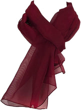 Load image into Gallery viewer, Plain Burgundy Chiffon Style Scarf Thin Pretty Scarf Great for Any Outfit Lovely Gift