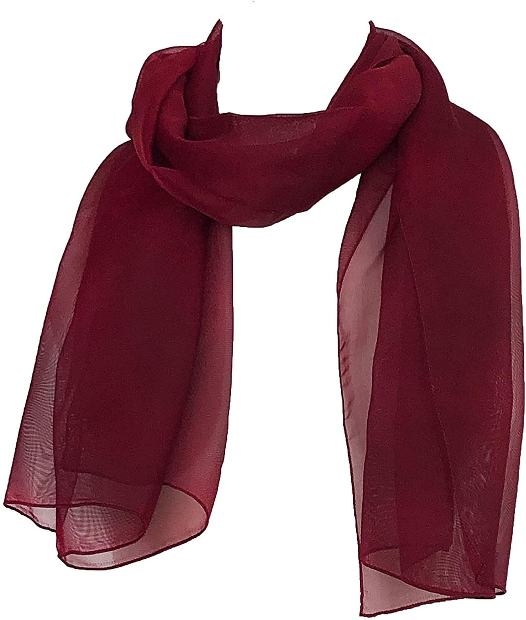 Plain Burgundy Chiffon Style Scarf Thin Pretty Scarf Great for Any Outfit Lovely Gift