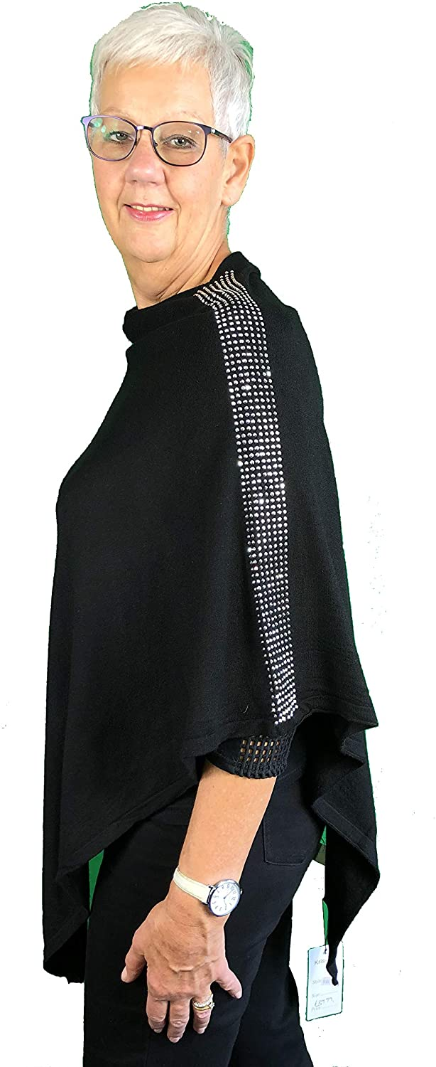 Pamper Yourself Now Black Poncho with Diamante Sparkle Strip on Shoulders
