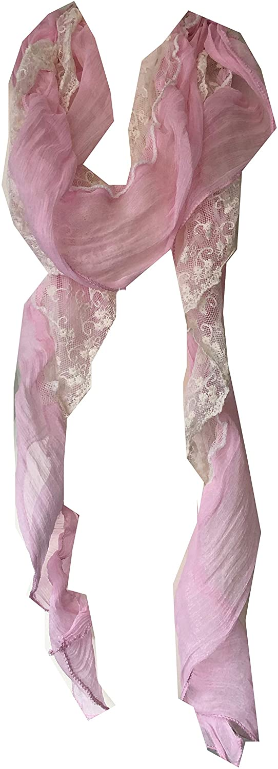 Pamper Yourself Now Light Pink Stretchy Thin Soft Long Scarf with lace trrim