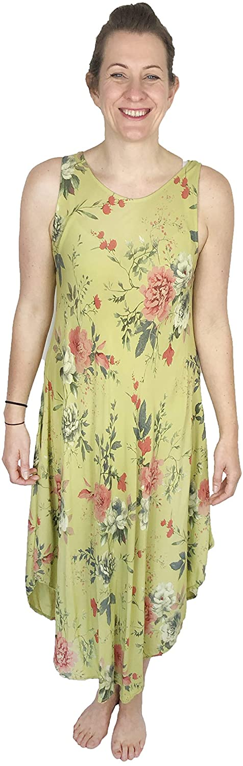 Pamper Yourself Now ltd Green Loose Fitting Summer Flowery Dress 100% Viscose. One Size Recommended Fits Size 12-6 Made in Italy (AA86)