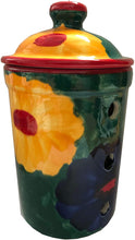 Load image into Gallery viewer, Multi Coloured Flower Design Garlic Keeper Pot (18)