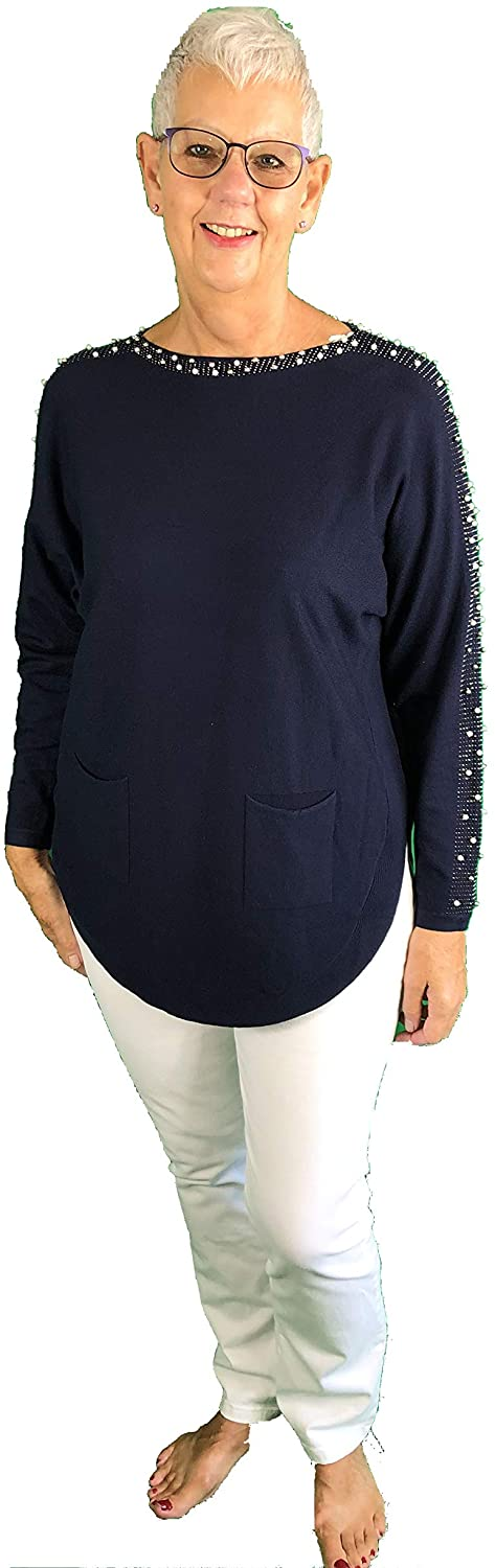 Pamper Yourself Now ltd Navy Diamante and Pearl arm Detail with Pocket Soft Jumper. Made in Italy (AA39)