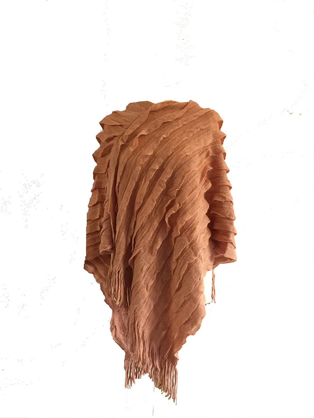 Pamper Yourself Now Dusky Pink Ruffle Effect V Neckline Lightweight Poncho with Tassel Edge